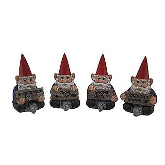 Adorável Gnome dizendo 4 peça assentada Garden Gnome conjunto