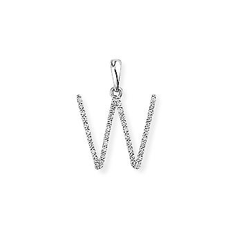 Jewelco London 18ct White Gold Pave Diamond Initial Charm Pendant Letter W 13mm x 18mm