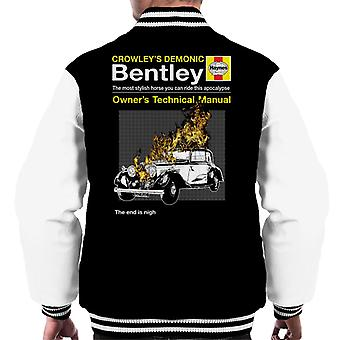 Crowleys Demonic Bentley Haynes Manual Good Omens Men's Varsity Jacket