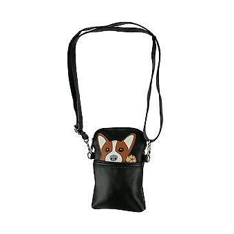 Black Pocket Peeking Corgi Dog Crossbody Purse Small