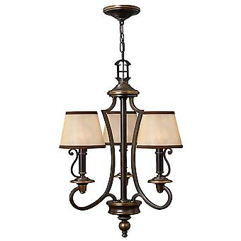 Plymouth Traditional 3 Arm Chandelier Light Amber Organza Shades