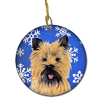 Cairn Terrier Winter Snowflakes Holiday Ceramic Ornament SC9375