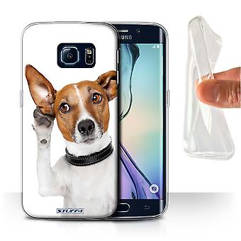 STUFF4 Gel/TPU Case/Cover for Samsung Galaxy S6 Edge/Listening Dog/Funny Animals