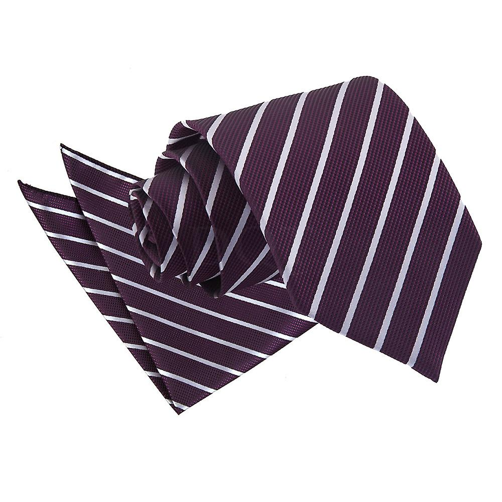 Single Stripe Purple & Silver Tie 2 pc. Set