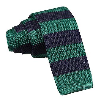 Knitted Navy & Green Striped Tie