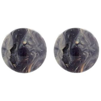 Clip On Earrings Store Classic Deep Purple Round Marble Effect Clip On Earrings
