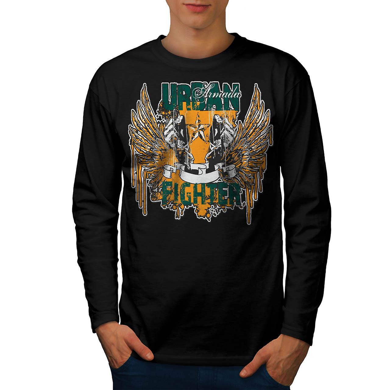 Urban Armada Fighter Fist Wings Men Black Long Sleeve T-shirt | Wellcoda