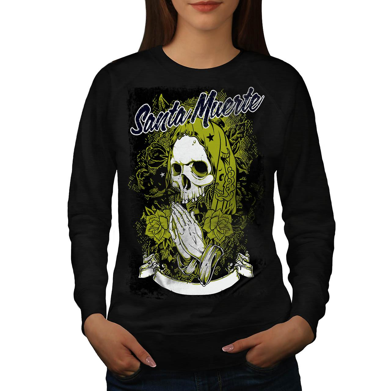 Santa Muerte Skull Death Rage Women Black Sweatshirt | Wellcoda