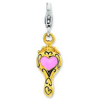 Sterling Silver Enameled 3-d Gold-Flashed Heart Mirror With Lobster Clasp Charm - 1.8 Grams
