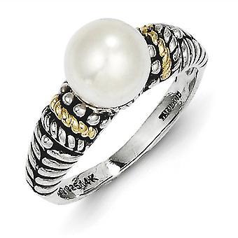 Sterling sølv med 14 k 8mm ferskvands kulturperler perle Ring - ringstørrelse: 6-8
