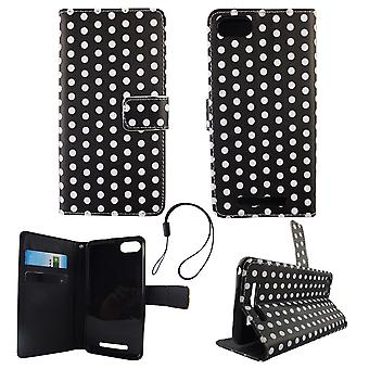 Mobile phone case pouch for mobile WIKO Lenny 3 polka dot black white