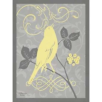Grey and Yellow Bird III Poster Print by Gwendolyn Babbitt