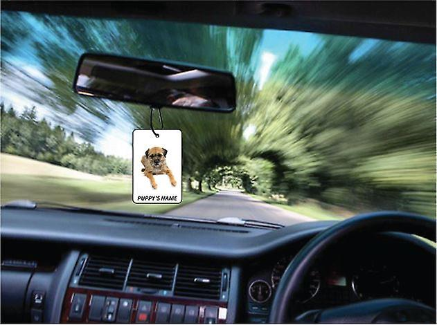 Personalised Border Terrier Puppy Car Air Freshener