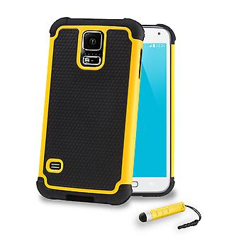 Shock Proof Case Cover for Samsung Galaxy S5 G900 + Stylus - Yellow