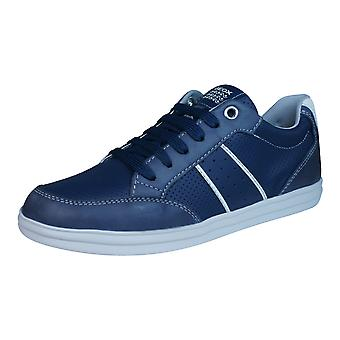 Geox J Anthor B Boys Leather Trainers / Shoes - Navy Blue