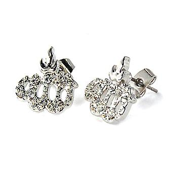 Iced out bling earrings box - ALLAH silver 12 mm