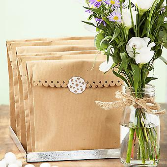 Kraft Brown Paper Bags x 8 & Stickers - Wedding / Cakes Talking Tables
