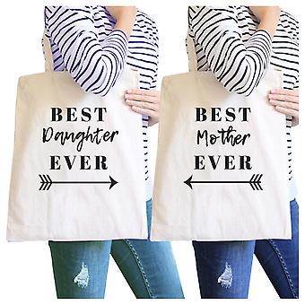 Best Daughter & Mother Ever Natural Mom and Daughter Canvas Tote