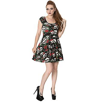 Banned - SKULL ROSES - Women's - Jersey Dress, Black