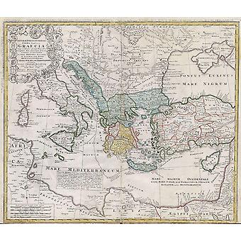 Ancient Greece mediterranean Map Homann Heirs 1741 Poster Print Giclee