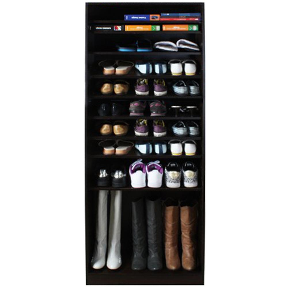 Micro - Open 10 Tier Shoe / Boot Storage Shelf - Walnut