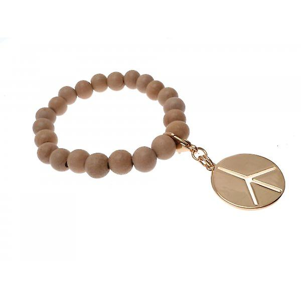 W.A.T Stretchy Wooden Bead Gold Style Peace Symbol Bracelet
