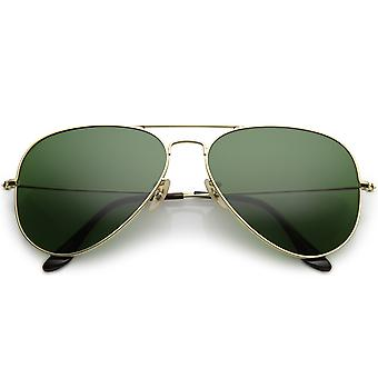 Premium Large Classic Matte Metal Aviator Sunglasses With Green Tinted Glass Lens 61mm