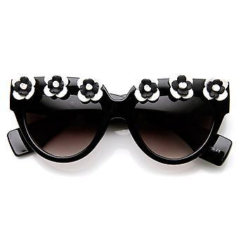 High Fashion Flower Adorned Bold Floral Cat Eye Sunglasses