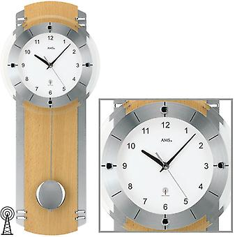 Radio controlled wall clock radio clock pendulum clock beech chrome glass 58 x 23 cm AMS