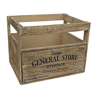 Large Wooden Storage Baskets with General Store Printing