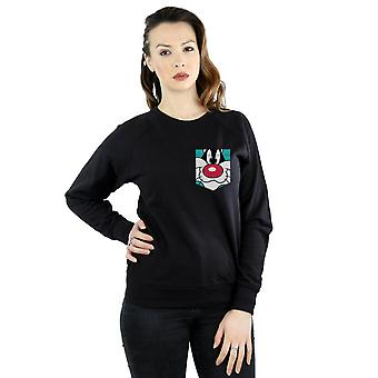 Looney Tunes Women's Sylvester Face Faux Pocket Sweatshirt