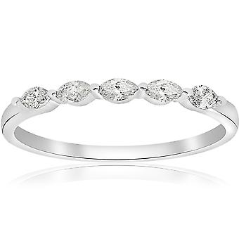 1/2ct Marquise Diamond Five Stone Wedding Ring 14K White Gold