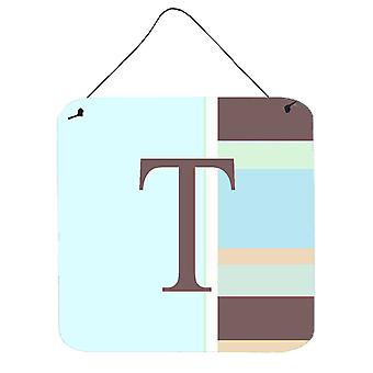 Letter T Initial Monogram - Blue Stripes Wall or Door Hanging Prints