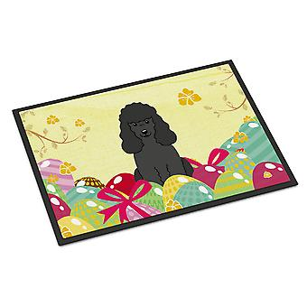 Easter Eggs Poodle Black Indoor or Outdoor Mat 24x36