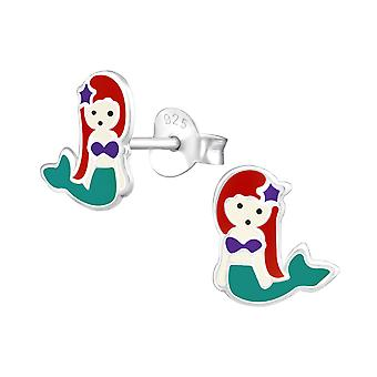 Mermaid - 925 Sterling Silver Colourful Ear Studs