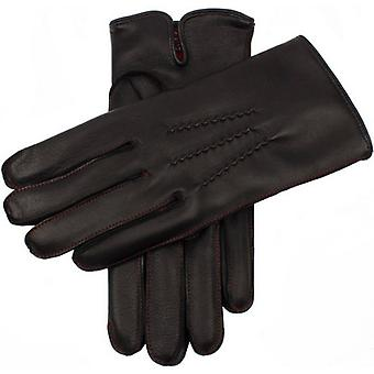 Dents Clyne Cashmere Lined Hairsheep Leather Gloves - Black/Red