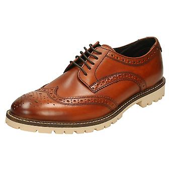 Mens Base London Formal Shoes Raid - Washed Brown Leather - UK Size 6 - EU Size 40 - US Size 7