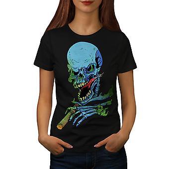 Rasta Skeleton Rock Women BlackT-shirt | Wellcoda