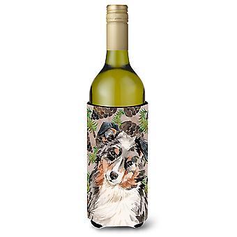 Australian Shepherd Pine Cones Wine Bottle Beverge Insulator Hugger