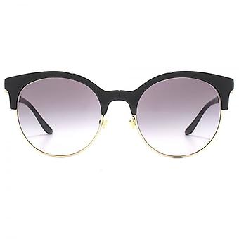 Versace Round Browline Style Sunglasses In Black Pale Gold