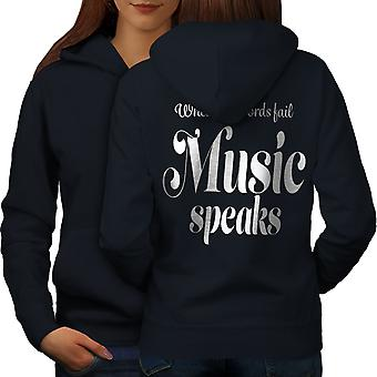 Music Speaks Word Fail Women NavyHoodie Back | Wellcoda