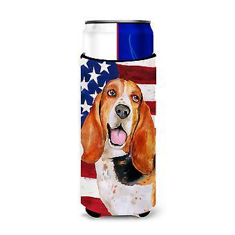 Basset Hound Patriotic Michelob Ultra Hugger for slim cans