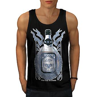 Death Drink Skull Men BlackTank Top | Wellcoda
