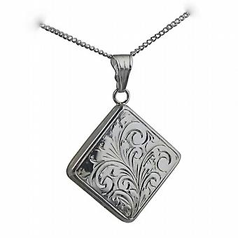 Silver 22mm hand engraved flat diamond shaped Locket with a curb Chain 18 inches