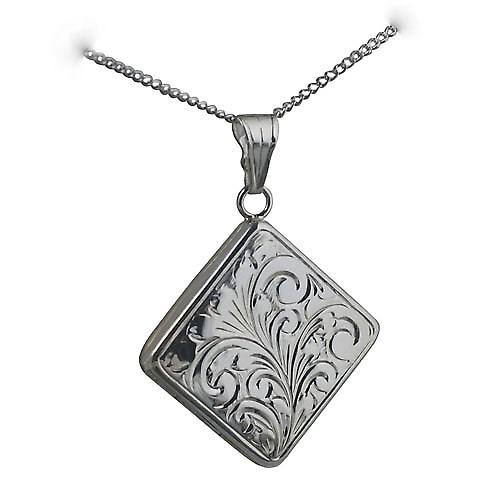 Silver 22mm hand engraved flat diamond shaped Locket with a curb Chain 22 inches
