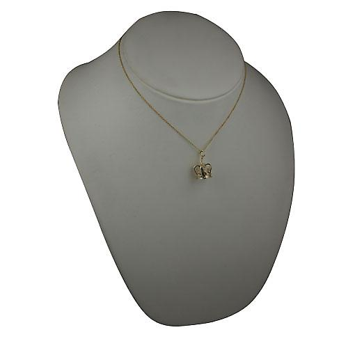 9ct Gold 14x20mm Crown Pendant with a cable Chain 16 inches Only Suitable for Children