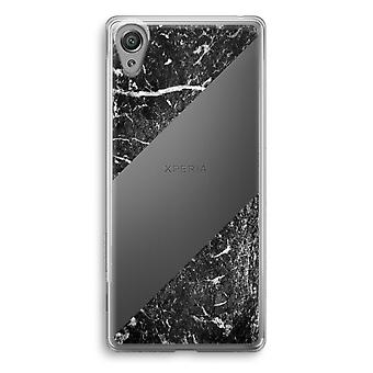 Sony Xperia XA1 Transparent Case - Black marble