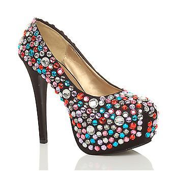 Ajvani womens high heel platform wedding prom party bridal gems diamante court shoes pumps