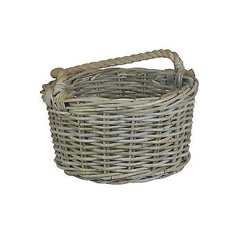 Small Rope Handled Grey Rattan Apple Basket