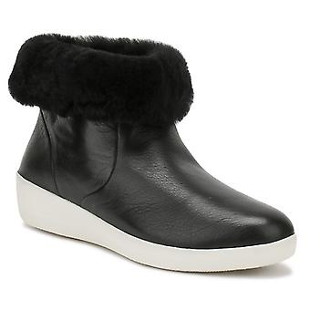 FitFlop Womens Black Leather Skatebootie Boots